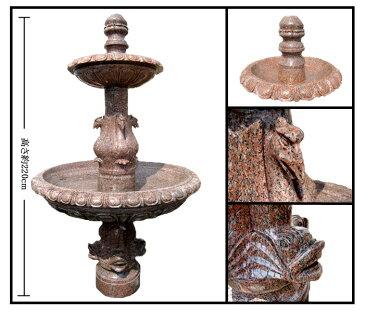 【天然大理石 噴水】 鳥・イルカ彫刻 二段噴水