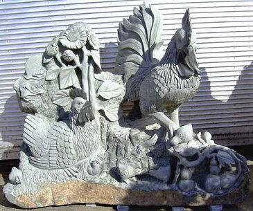 御影石彫刻 石像 ひまわりと鶏親子 ニワトリ 動物像 オブジェ にわとり