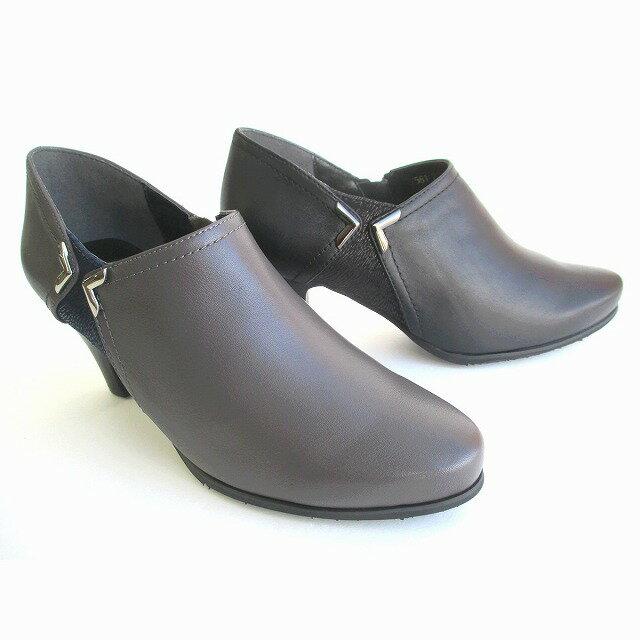 [ユキコキミジマ ]【履くほどに愛着が湧く、手放せない1足になりそう。】 Yukiko Kimijima 7561 ブーティー シューティー 本革 レザー アンクルブーツ 通勤靴 ブラック・グレー