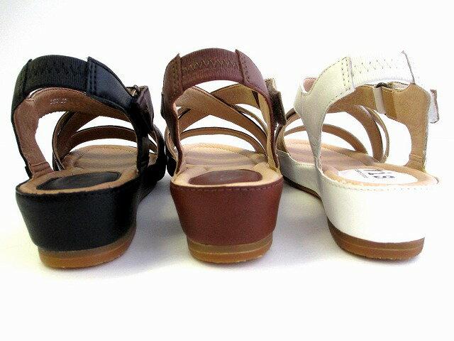 ビス ViS vis 3120 レディース 天然皮革 サンダル フラットヒール お買い物靴 通勤靴 仕事靴 ブラック ブラウン ホワイト