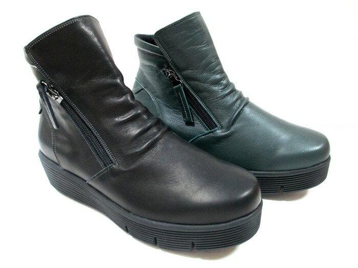 フィズリーン FIZZ REEN fizz reen 1644 レディース 天然皮革 フラット ラウンドトゥ 厚底 トラベルシューズ 軽量 通勤靴 仕事靴 ブラック ダークグリーン