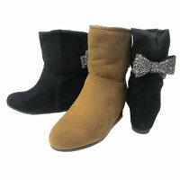 ストロベリーフィールズstrawberryfieldsST5550レディースムートンブーツバックリボンラウンドトゥインヒール防寒ブーツ通勤靴ブラックスエードキャメルスエード
