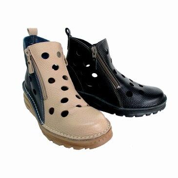 フィズリーン 日本製 FIZZ REEN fizzreen 00032 レディース ソフトレザー 春ブーツ パンチング 通勤靴 軽量 トラベルシューズ フラット ブラック サンドベージュ
