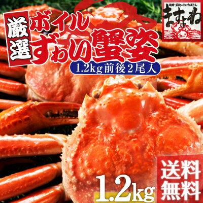 お中元 ギフト!こだわりのボイルずわい蟹/姿1.2kg仕立て/化粧箱包み](600g前後×2匹)[送料無料](2...