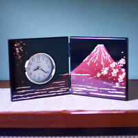 屏風時計富士に桜