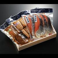 鮭道楽(塩引き鮭、鮭の味噌漬け、鮭の焼漬け)