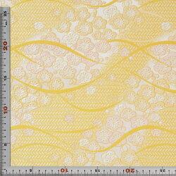 西陣織・黄土・花・正絹(本シルク)・半巾30cm長さ10cm単位和柄生地布地はぎれ