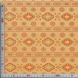 西陣織・クリーム・幾何学模様・正絹(本シルク)・半巾30cm長さ10cm単位和柄生地布地はぎれ