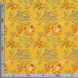 西陣織・錦裂・黄色・鳳凰・唐草・正絹(本シルク)・半巾60cm長さ10cm単位和柄生地布地はぎれ