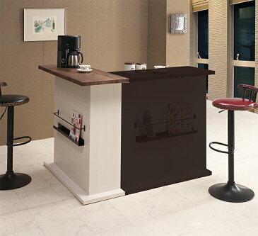キッチンカウンター バーカウンター キッチン収納 完成品 北欧 カフェ風 ブルックリン インダストリアル ミッドセンチュリー フレンチカントリー 幅115 ブラック ホワイト 国産 民泊 送料無料