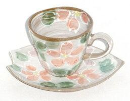 赤桜コーヒー碗皿(カップ&プレートセット)和食器食器陶器プレゼントギフト贈リ物祝お祝い記念品