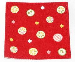 京都くろちく京飴赤和柄綿コースタープレゼントギフト贈リ物祝お祝い記念品