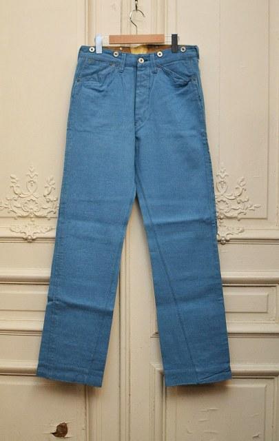 メンズファッション, ズボン・パンツ Hellers cafe 5POCKETS DENIM BACKSTRA P col.WASHED BLUE