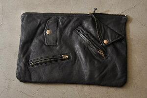 beautiful people ビューティフルピープル shrink leather clutch bag クラッチバッグ  col.b...