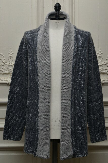 "The Elder Statesman ジ エルダーステイツマン ""Italy Smoking Jacket"" カシミアニットジャケット   col.DEEP DENIM/WHITE:Mathematics"