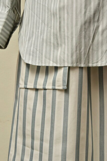Cristaseya クリスタセヤ  MAXI SKIRT WITH POCKETS  col.LARGE GREEN STRIPES