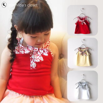 可愛的孩子們衣服女孩無袖背心上衣 T 襯衫短袖上衣度假村簡單紅色黃色白色 10P03Dec16