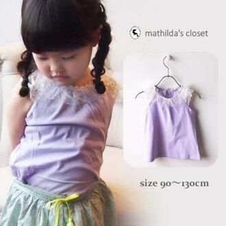 可愛的孩子們的衣服女孩無袖背心上衣 T 襯衫短袖上衣度假村簡單紫色 10P03Sep16 / 10P01Oct16