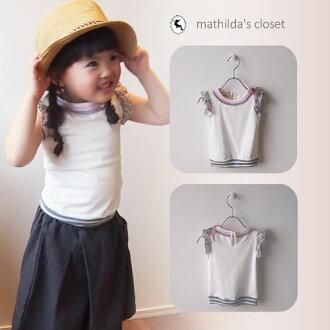 孩子們的衣服女孩無袖背心襯衫短袖夏天 90 釐米 95 釐米白色灰色粉紅絲帶度假村簡單 10P03Sep16 / 10P01Oct16