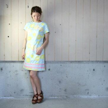 【セール】60'sヴィンテージクルーネック花柄半袖ドレス 【中古】
