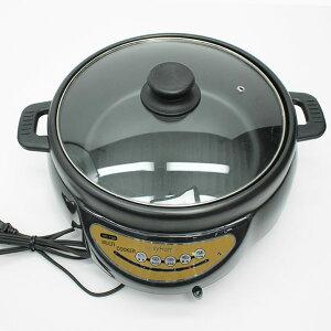 《クーポン配布中》 電気グリル鍋 (電気鍋) ガラス蓋つき 3〜4人用電気鍋 電気調理鍋 寄せ鍋 すき焼き鍋 電気ホットプレート に