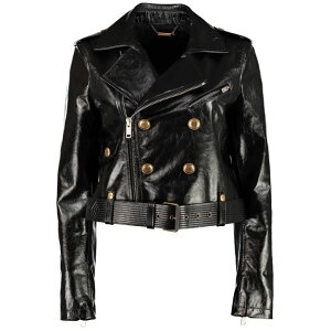 Givenchy Jacket Outer Ladies [Givenchy Double-breasted Belted Biker Jacket] Black