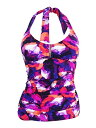 Calvin Klein Women's Lapis Lazuli Printed Bar Halter Tankini with Removable Soft Cups 水着 - マタニティナーシングタンキニ Hot Fuchsia