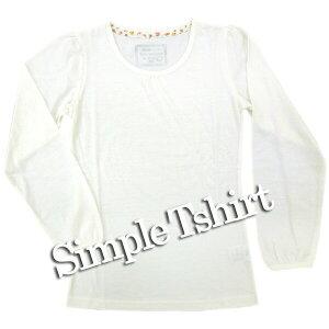 子供服 女の子 9641wh ジュニア Tシャツ 長袖 白 無地 天竺 綿混 通年 130 140 150 160 通学 普段着 インナー 中国製