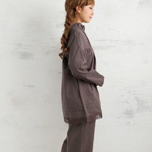 松並木の肌にやさしい無添加ガーゼかわいいフリル襟・レース付き、お姫さまパジャマ長袖・前開き、両サイドにポケット