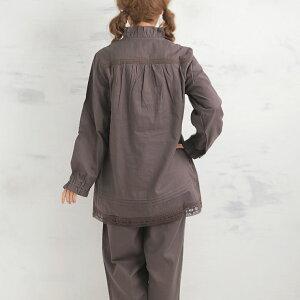 敏感肌にもやさしい松並木のガーゼパジャマ、後ろ、切り替えで着心地が楽