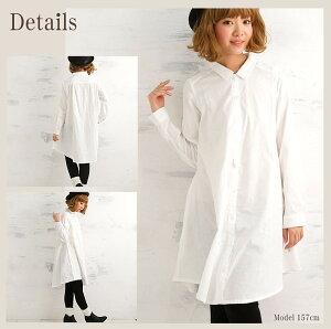 綿100%無添加ガーゼワンピースフレア型シャツワンピ長袖