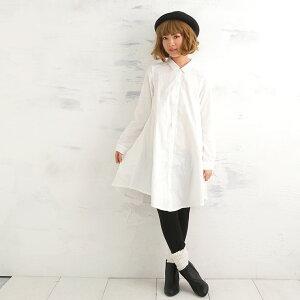 綿100%無添加ガーゼワンピースフレア型長袖のシャツワンピ