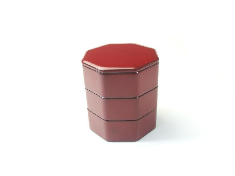 『漆塗 4寸八角姫重箱 吟朱内黒』【日本製】【越前塗】:松屋漆器店