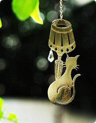 光と影が楽しめる、可愛いサンキャッチャー猫のウインドージュエリー ランプシェード&キャット