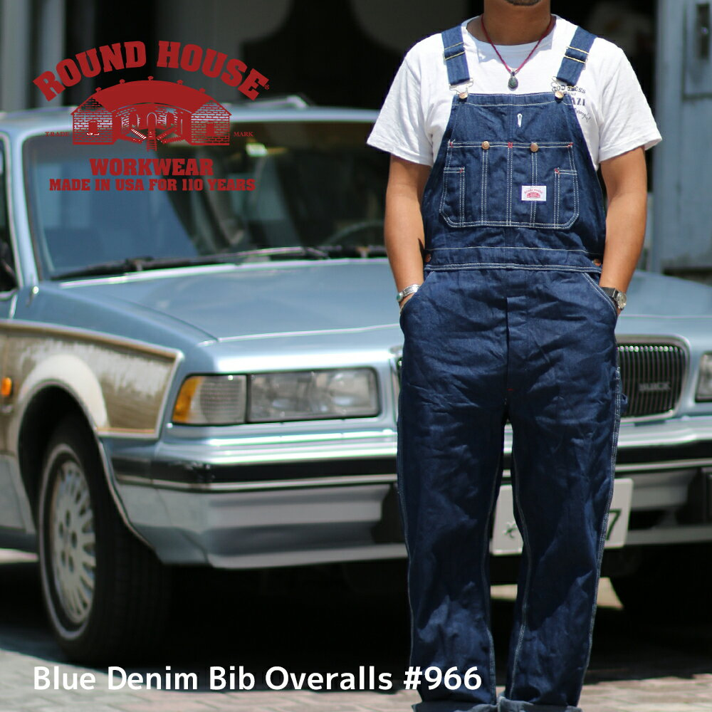 ROUND HOUSE オーバーオール デニム アメリカ製 ラウンドハウス メンズ レディース サロペット オールインワン つなぎ 作業服 【楽ギフ_包装】 【楽ギフ_メッセ】 #966