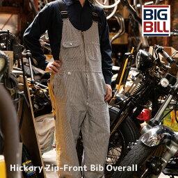 【裾上げ無料】BIGBILL ビッグビル オーバーオール サロペット 10oz ジップフロントビブオーバーオール Hickory Stripe Bib Overall With Zip Front Closure 93 ヒッコリー ストライプ メンズ レディース 大きいサイズ 100% カナダ製