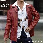 レザー・ジャケット赤オールシーズンマックス・ケイディMAXCADY本革メンズファッションテーラード・ジャケット送料無料