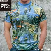 モトクロスTシャツメンズファッション半袖ショートスリーブバイク柄ストレッチ