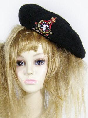 【新入荷/10P15Jan10】アリス時計ウサギ刺繍ベレー帽【マキシマム/ゴシック/ロリータ/8LC001】