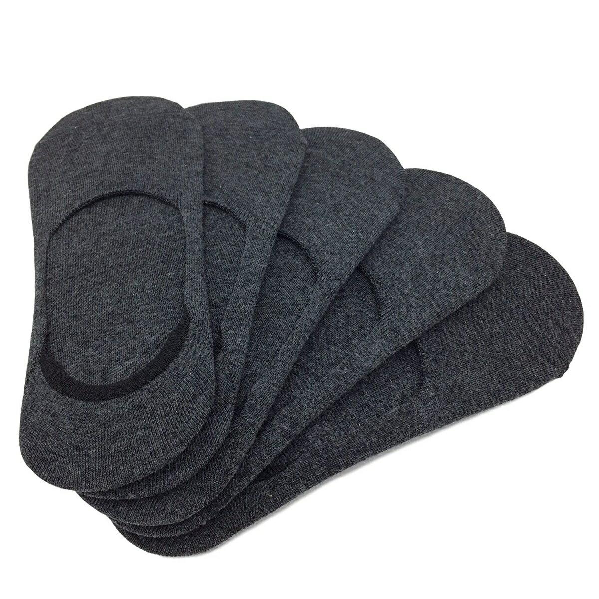フットカバー メンズ すべり止めつき カバー ソックス ショート 靴下 5足セット 濃グレー