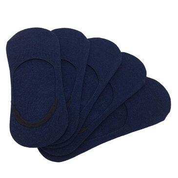 フットカバー レディース すべり止めつき 靴下 10足セット (紺)