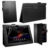 Sony Xperia Z2 Tablet docomo SO-05F、au SOT21 専用 レザー調 フラップ折り返し式 スタンドケース