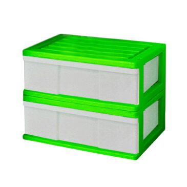 【送料無料 全16色】収納ボックス 収納ケース プラスチック 引き出し 1段 2個組 幅60 奥行40 高さ22.5cm ワイド カラフルチェスト 完成品 おしゃれ グリーン 【メーカー 自社製造 日本製】