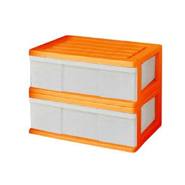 【送料無料 全16色】収納ボックス 収納ケース プラスチック 引き出し 1段 2個組 幅60 奥行40 高さ22.5cm ワイド カラフルチェスト 完成品 おしゃれ オレンジ 【メーカー 自社製造 日本製】