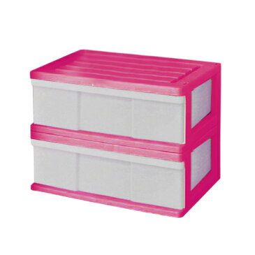【送料無料 全16色】収納ボックス 収納ケース プラスチック 引き出し 1段 2個組 幅60 奥行40 高さ22.5cm ワイド カラフルチェスト 完成品 おしゃれ ピンク 【メーカー 自社製造 日本製】