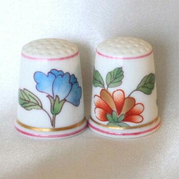 グランデューカ(Granduca)ジノリ(Ginori)イタリアTCCシンブル(指ぬき)2色の花