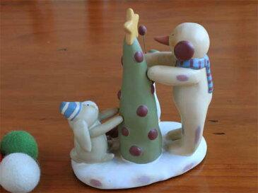 ツリーの飾りつけ スノーマンとウサギとアヒル クリスマス デコレーション うさぎ ラビット バニー グース 陶器 置物 コレクション アイテム 誕生日 ギフト プレゼント 02P19Dec15 02P24Dec15