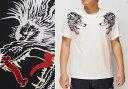 satori[さとり] 狼頭 刺繍 和柄Tシャツ/半袖/GST-651/送料無料【さとりの人気図柄「狼」刺繍和柄Tシャツ!】