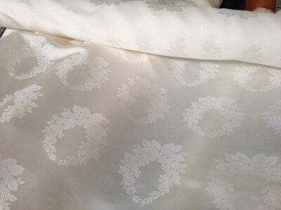 絹布団・枕カバー・アロハシャツ向け日本製シルク生地silk100%白生地シルクサテン(110cm幅)鶴亀つるかめ、又は薔薇格子、月桂樹のジャガード紋様3種。1m単位で切り売りします。16匁シルク反物の切り売り。私の工場で織り上げました。