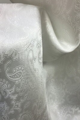 卸し値販売【草木染用】丹後シルク100%シルクサテン(ペイズリー織柄)の縫製済み白スカーフsize45×150cm大判ロングスカーフ縫製丹後ちりめん歴史館製織の白生地